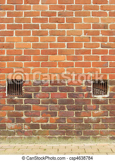 old brick wall with 2 ventilation exit - csp4638784