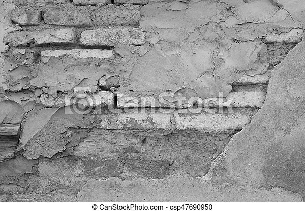 Old Brick Wall With Plaster, Mono Tone - csp47690950