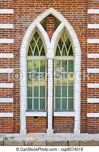 old brick window architecture - csp8574519