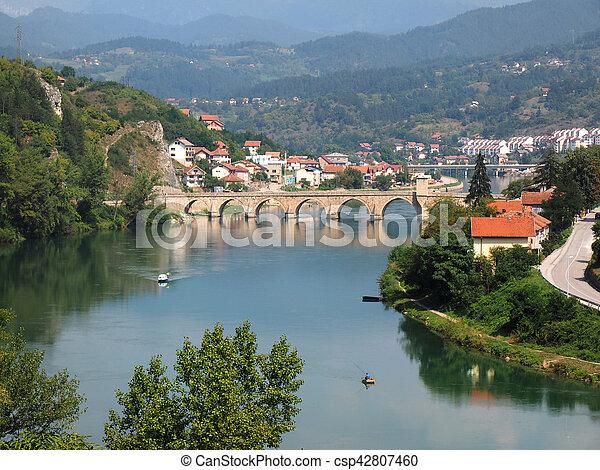 old bridge on river Drina - csp42807460