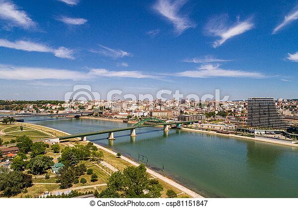 Old bridge on river Sava, Belgrade - csp81151847