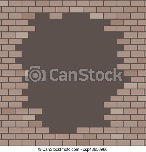Old Broken Brick Wall