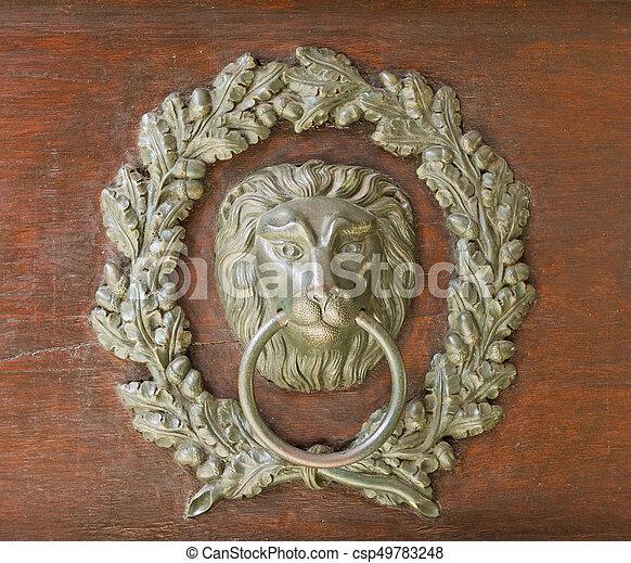 Old Bronze Door Knocker Lion Head And Oak Wreath