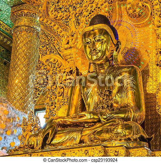 Old Buddha in Bo Ta Tuang Paya Temple Yangon, Myanmar (Burma) Th - csp23193924