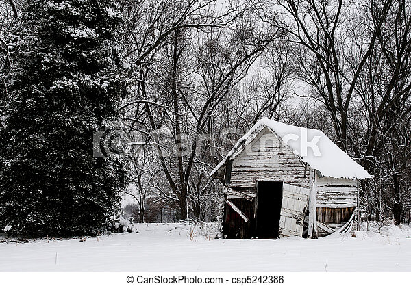 Old Building in the Snow - csp5242386