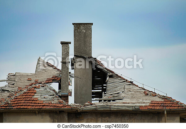 Old building with destroyed roof. - csp7450350