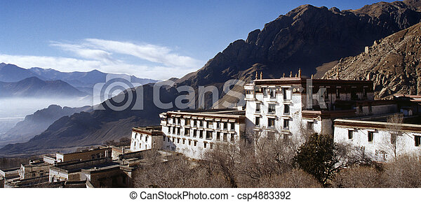 Old buildings in the Buddhist Drepung Monastery, Tibet. - csp4883392