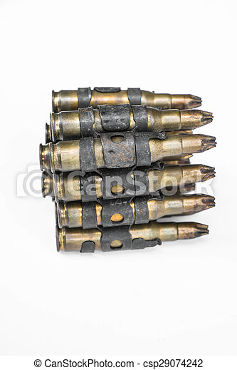 Old bullets on white background - csp29074242