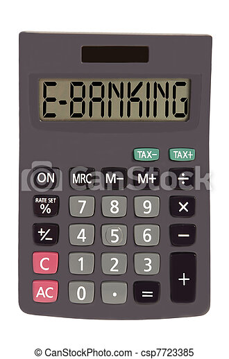 """Old calculator on white background showing text """"e-banking"""" - csp7723385"""