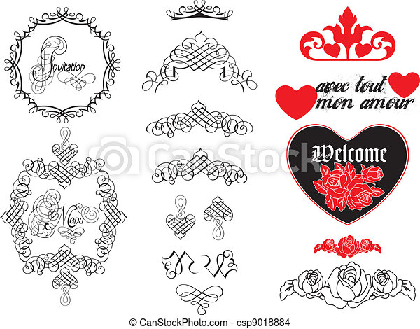 Old-Calligraphy-and-Design-Elements - csp9018884