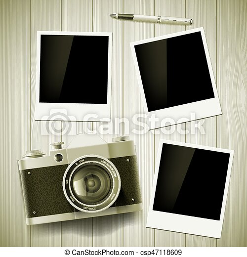 Old camera and photos lie on a wooden table. Stock vector illust - csp47118609