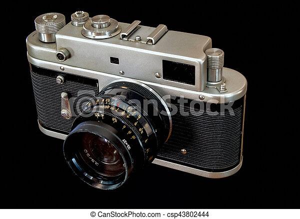 Old Camera on Black background - csp43802444