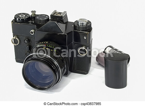 Old Camera on white background - csp43837985