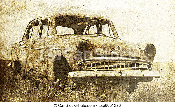 Old car at field. Photo in old image style. - csp6051276