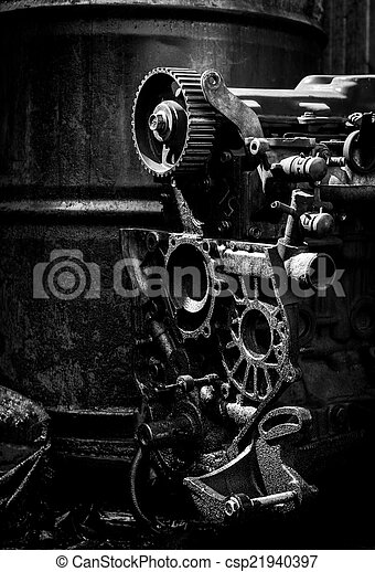 Old Car Engine Black And White Photo
