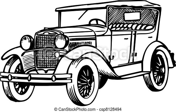 Line Drawing Car : Old car on white background eps vector search clip art