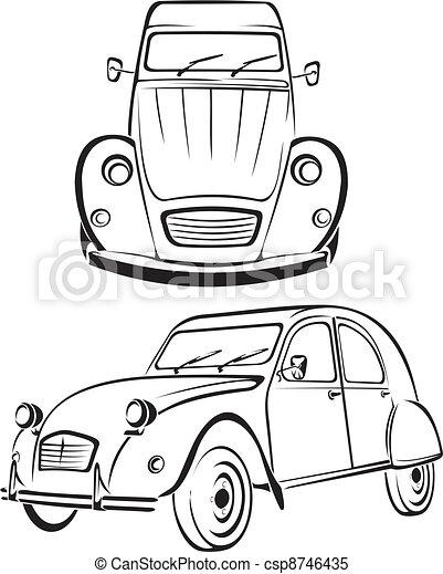 Old car - old line of cars. Old school car, vintage design.