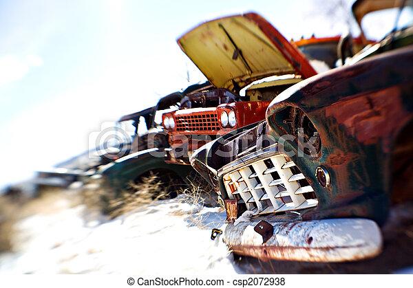 old cars at junkyard - csp2072938