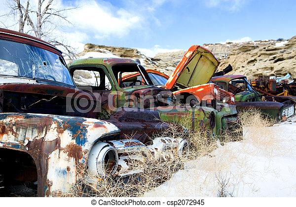 old cars at junkyard - csp2072945