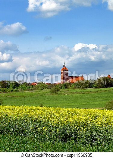 old castle and church - csp11366935