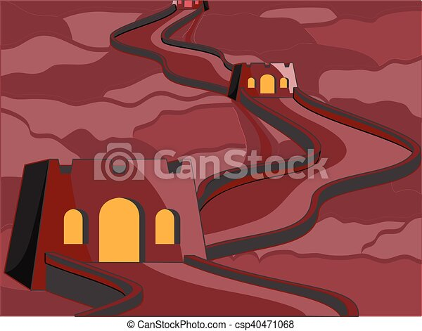 Old Castle at Night Vector - csp40471068