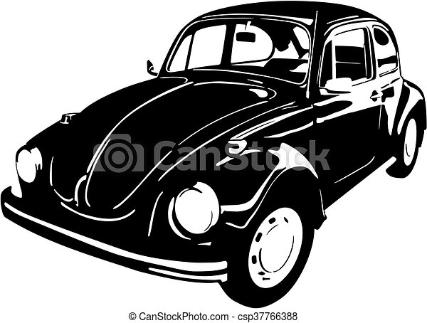 old cat beetle vector ilustration of an black old car beetle 1988 Volkswagen Beetle old cat beetle csp37766388