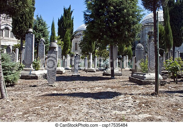 Old cemetery in Istanbul, Turkey - csp17535484