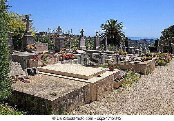old cemetery in Saint Paul de Vence, Provence, France. - csp24712842