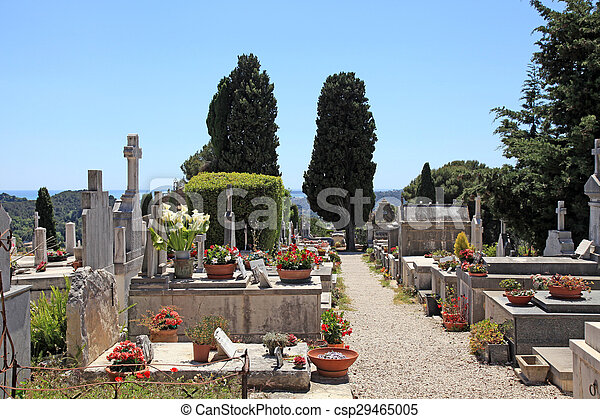 old cemetery in Saint Paul de Vence, Provence, France. - csp29465005