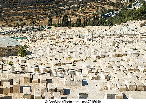 Old cemetery on Mount of Olives in Jerusalem - csp7915949