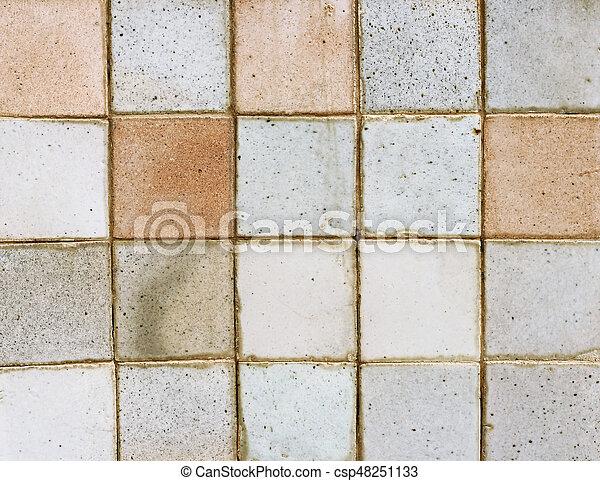 Old Ceramic Brick Tile Wall