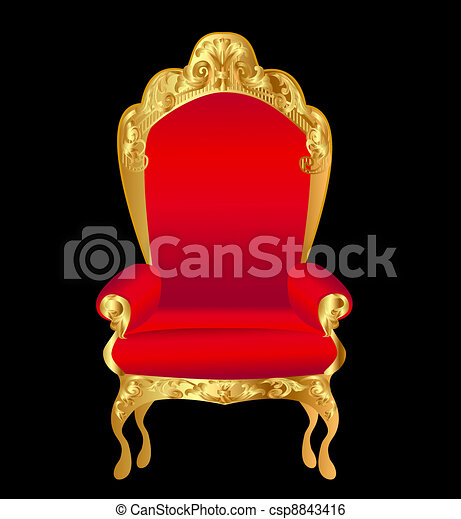old chair red with gold ornament on black - csp8843416