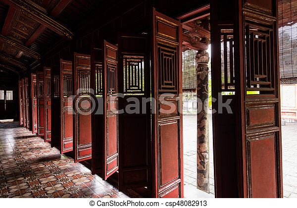 & Old chinese asian wooden doors at temple.