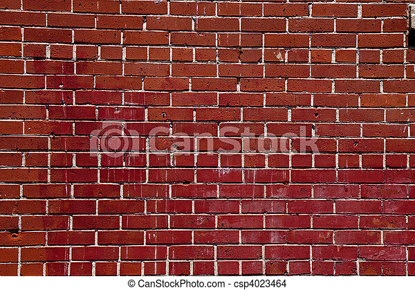 Old Chipped Stained Brick Wall - csp4023464