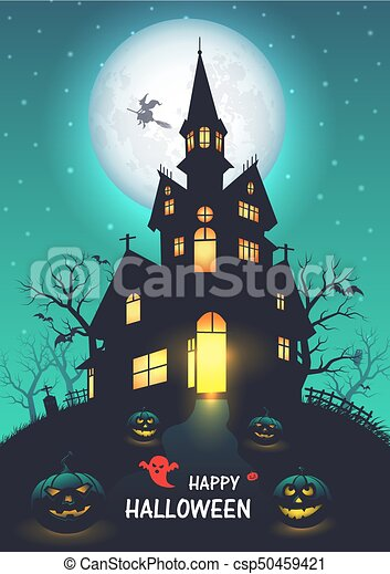 old church halloween background vector illustration
