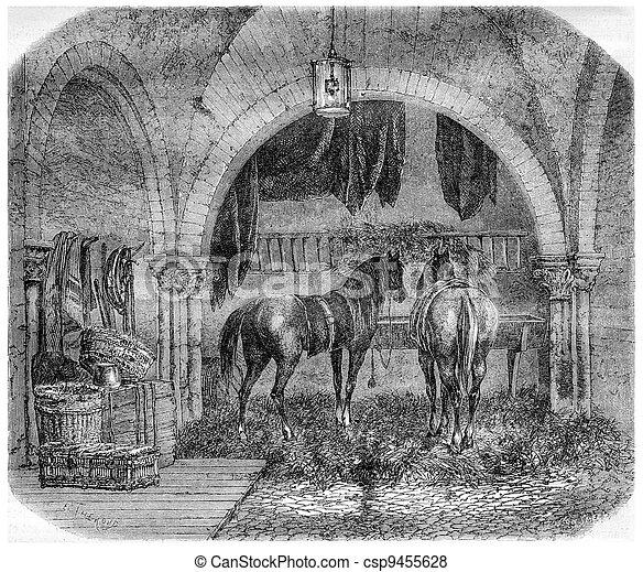 Old Church of Saint Aignan, in Paris, France, vintage engraving - csp9455628