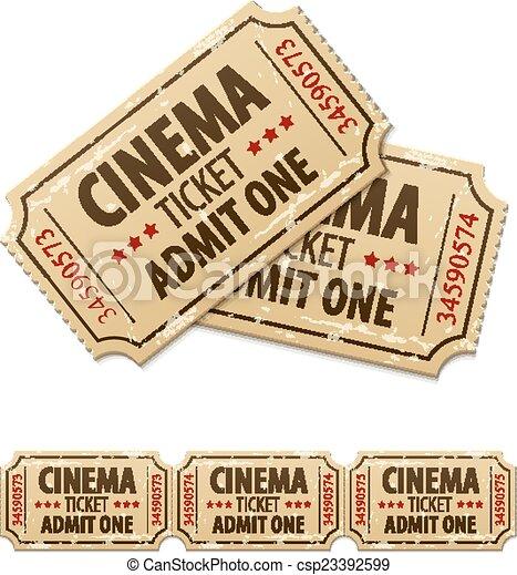 Old cinema tickets for cinema - csp23392599
