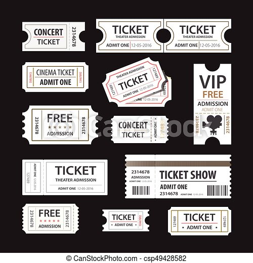 Old cinema tickets for cinema. Eps10 vector illustration. Isolated on black background - csp49428582