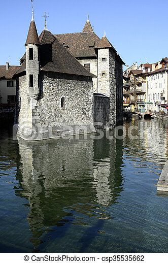 Old city and prison of Annecy, France - csp35535662