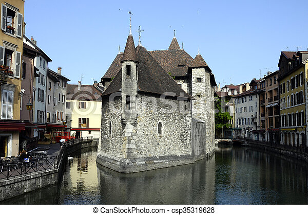 Old city and prison of Annecy, France - csp35319628