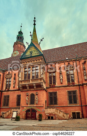 Old City Hall on Market Square in Wroclaw. Wroclaw, Lower Silesian, Poland. - csp54626227