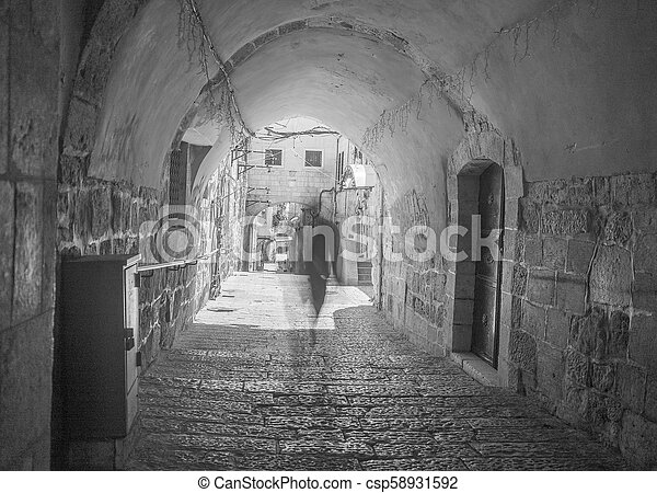 Old city jerusalem street in summer tourism vacation - csp58931592
