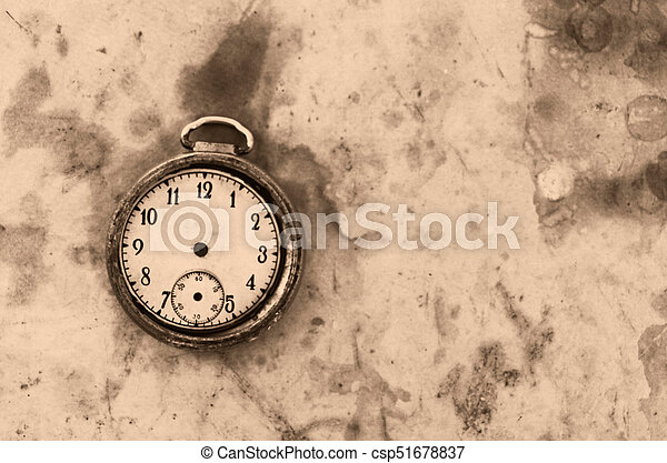 Old Clock On A Vintage Photo Paper Backgroundtime Concept