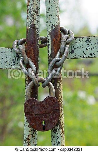 Old closed padlock - csp8342831