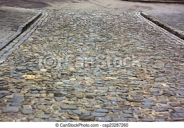 Old cobbled road in Lviv, Ukraine - csp23287260