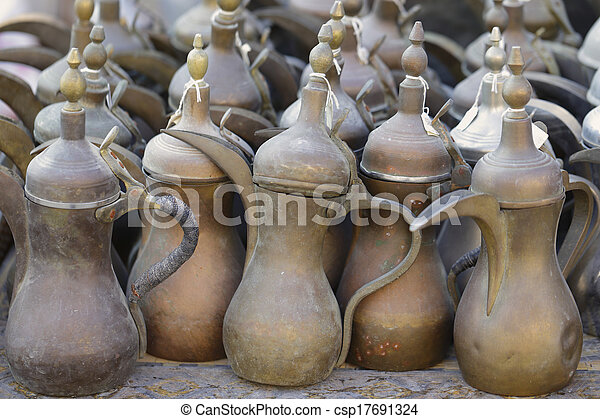 Old coffee pots in Doha souq - csp17691324