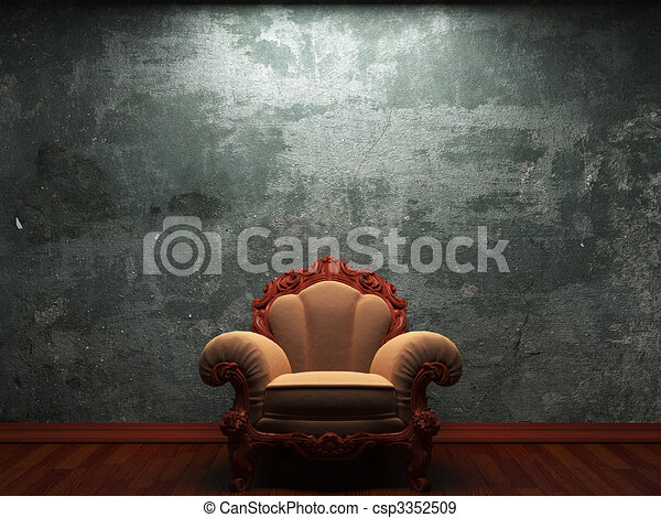 old concrete wall and chair  - csp3352509