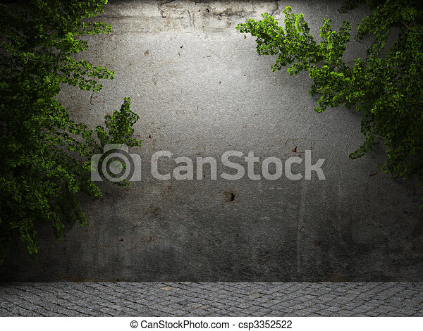 old concrete wall and ivy  - csp3352522