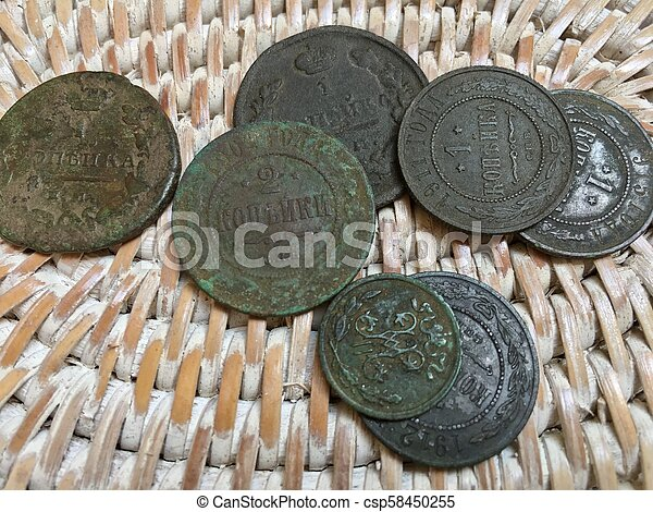 old copper coins of the Russian Empire - csp58450255