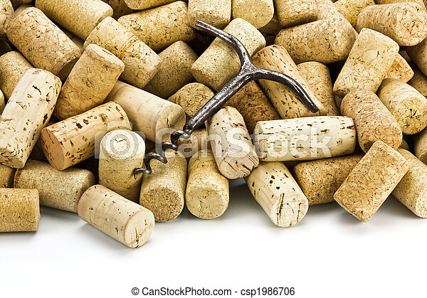 Old corkscrew and wine corks  - csp1986706